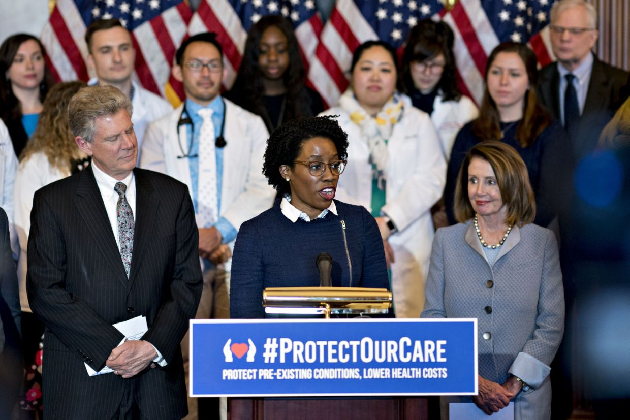 Rep. Lauren Underwood, D-Ill.,, speaks during a news conference to unveil health care legislation. (Photo: Andrew Harrer/Bloomberg via Getty Images)